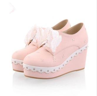 shoes kawaii harajuku pink lace frill bow cute platform shoes