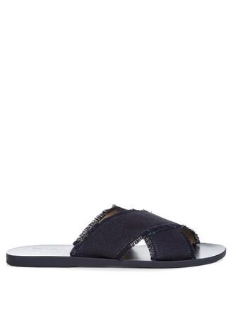 denim sandals leather dark shoes