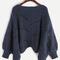 Navy lantern sleeve hollow sweater -shein(sheinside)