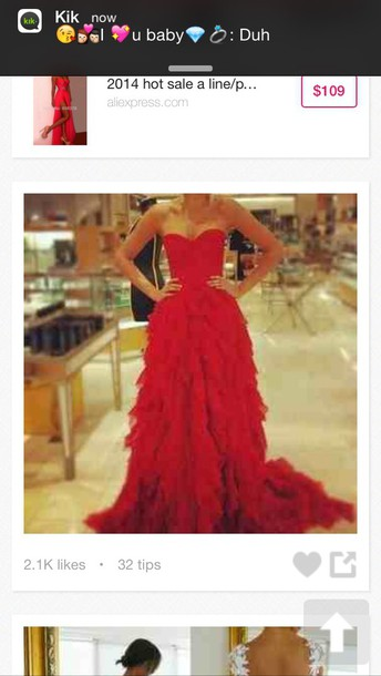 dress red long prom dress fitted at top ruffles at the end