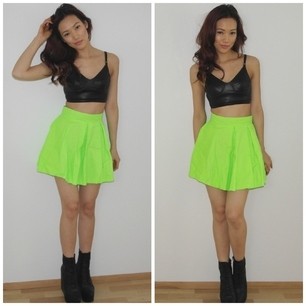 Neon high waist skater skirt