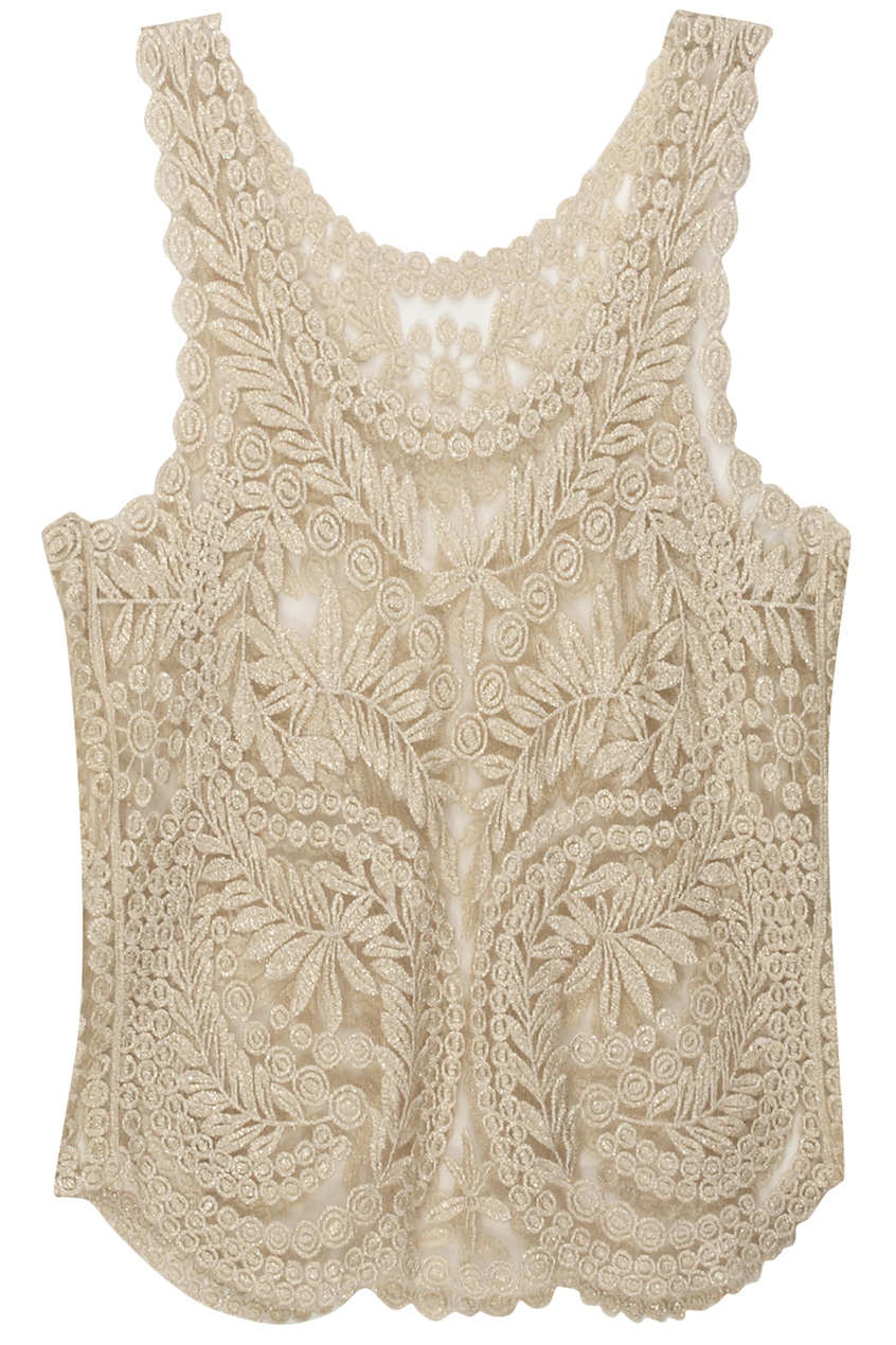 Romwe  Spun Gold Lace Crochet Vest, The Latest Street Fashion