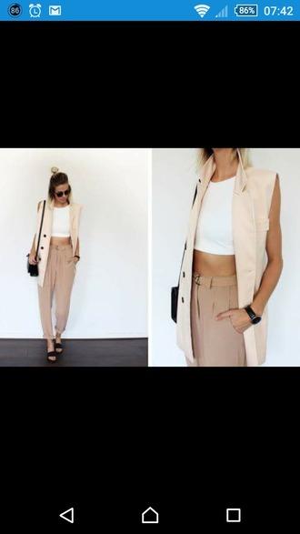 pants beige pants beige coat beige harempants harempants sandals leather bag white crop tops