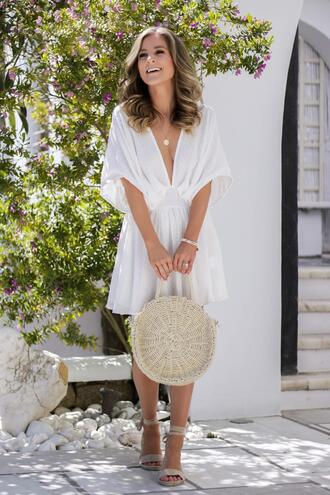 thedaintydarling blogger dress shoes bag jewels straw bag summer outfits white dress sandals