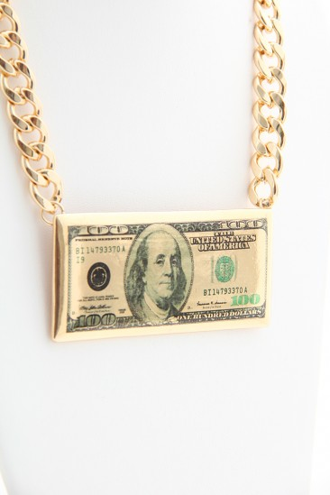 LoveMelrose.com From Harry & Molly | 100 Dollar Bill Necklace - Gold