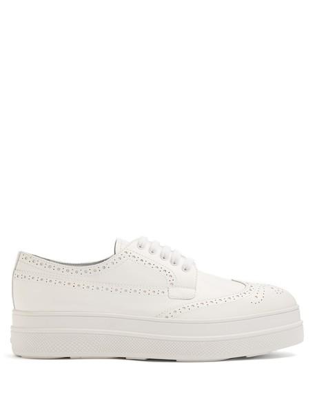 Prada lace leather white shoes