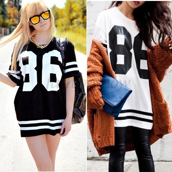 2014 New Summer Women 86 American Baseball Tee Oversized T Shirt Top Short Sleeve Loose Dress, Black SV14 SV002967-in T-Shirts from Apparel & Accessories on Aliexpress.com | Alibaba Group