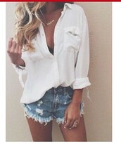 blouse,white,blue,ripped jeans,High waisted shorts,festival shorts,button up,white button up,shorts