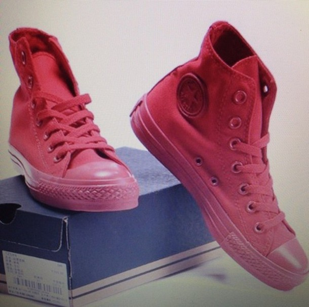 shoes converse red high tops