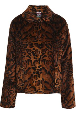 Shrimps Woman Printed Velvet Jacket Animal Print Size 8