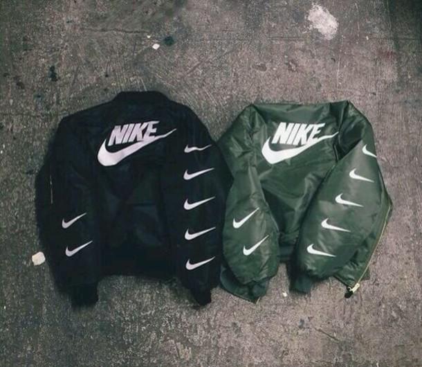 Jacket Coat Nike Bomber Black Green Tick Stylish Swag Dope Tumblr Nike Jacket Bomber Black White