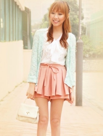shirt kawaii japanese outfit japanese casual shorts cardigan