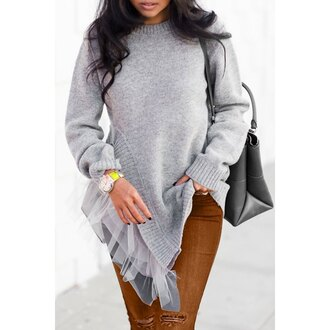 sweater grey casual trendy long sleeves