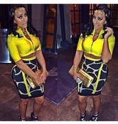 skirt,top,crop tops,yellow top,jacket,clutch,bag,purse,necklace,accessories,high heels,heels,two-piece,outfit
