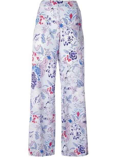 ETRO women floral blue silk pants