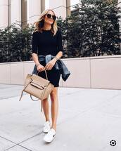 dress,mini dress,black dress,denim jacket,bag,sneakers,sunglasses