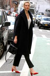coat,karlie kloss,model off-duty,celebrity,pants,streetstyle,fall outfits