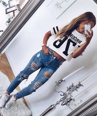 t-shirt jersey cropped white stripes cropped t-shirt
