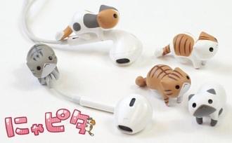 neko neko cats cute kawaii japanese phone charm tumblr technology earphones