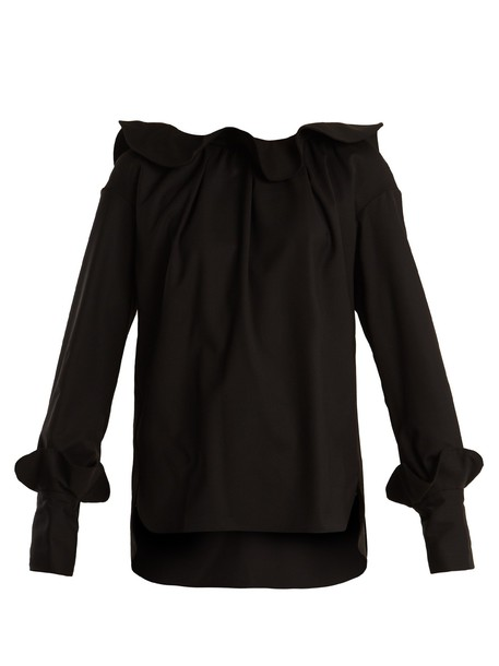 TEIJA blouse ruffle wool black top