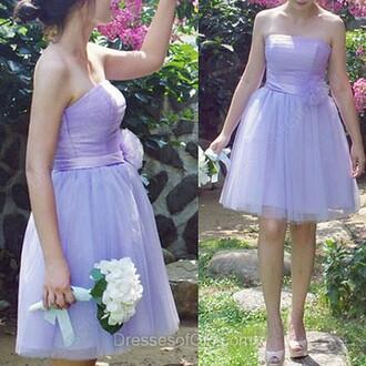 dress ball gown strapless tulle skirt short mini bridesmaid