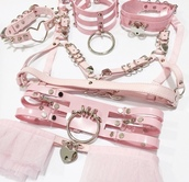 underwear,cats,lingerie,lingerie set,kawaii,fairy kei,bondage bra,pink,pastel,pastel goth,pastel pink,collar,necklace,accessories,garter belt,bra,bralette,leather
