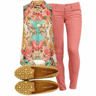 shirt floral studded shoes smoking slippers salmon outfit