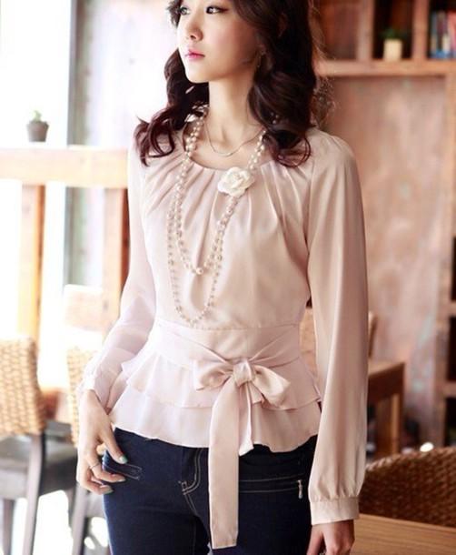 blouse, cute, elegant, silk, bow, jeans, jewels