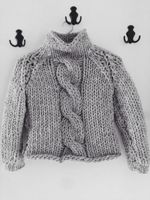 To Order Hand Knitted Light Grey Chunky Cable Knitted Infinity