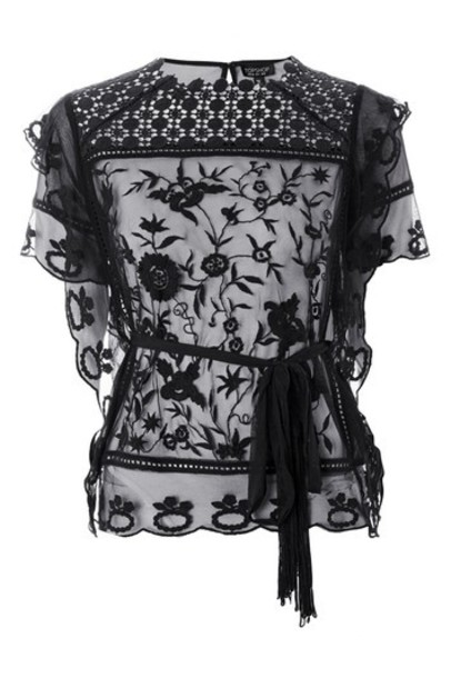 Topshop top embroidered lace black