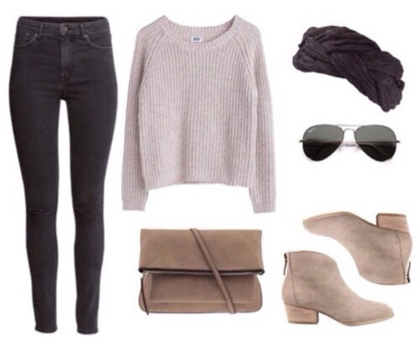 sweater winter sweater jeans sunglasses shoes bag hair accessory