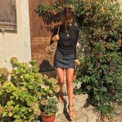 skirt,jeanne damas,fashionista,top,black top,blue skirt,denim skirt,flat sandals,sandals,brown sandals,bag,straw bag,long sleeves