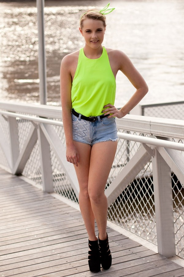 shorts lace crochet denim shorts top neon yellow blue blouse halter neck halter top