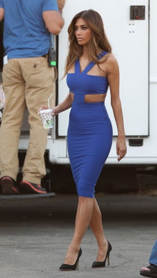 dress nicole scherzinger blue midi dress cut-out dress