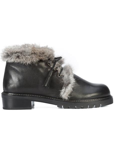 STUART WEITZMAN fur women leather black shoes