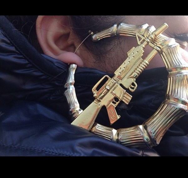 jewels machine gun earrings bamboo earring jewelry gold gun thug life gold hoop earrings big earrings hoop earrings large gold hoop earrings ak47 athletic aesthetic aesthetic soft ghetto machine gun earrings tumblr girl gold earrings
