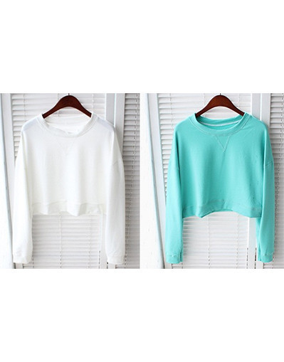 Long sleeves sleeve crop top tees fall winter fleece warm