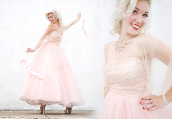 Vintage 1950s dress, pink lace tulle strapless gown shawl set, princess party formal prom, xs s,