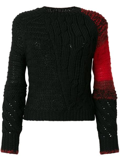 Helmut Lang - patchwork jumper - women - Polyamide/Mohair/Wool - S, Black, Polyamide/Mohair/Wool