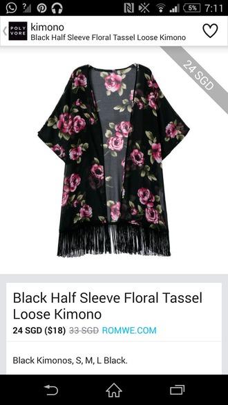 cardigan black kimono floral kimono fringe kimono