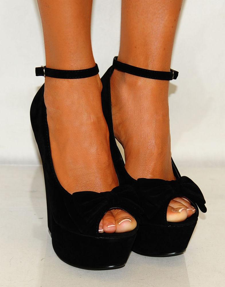 Ladies Summer Black Bow Suede Peep Toes Sling Back Wedges High Heels Shoes 3 8 | eBay