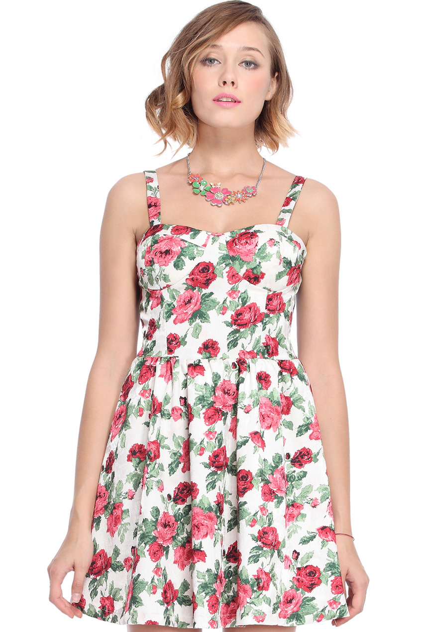 ROMWE | Red Floral Printed Camisole White Dress, The Latest Street Fashion