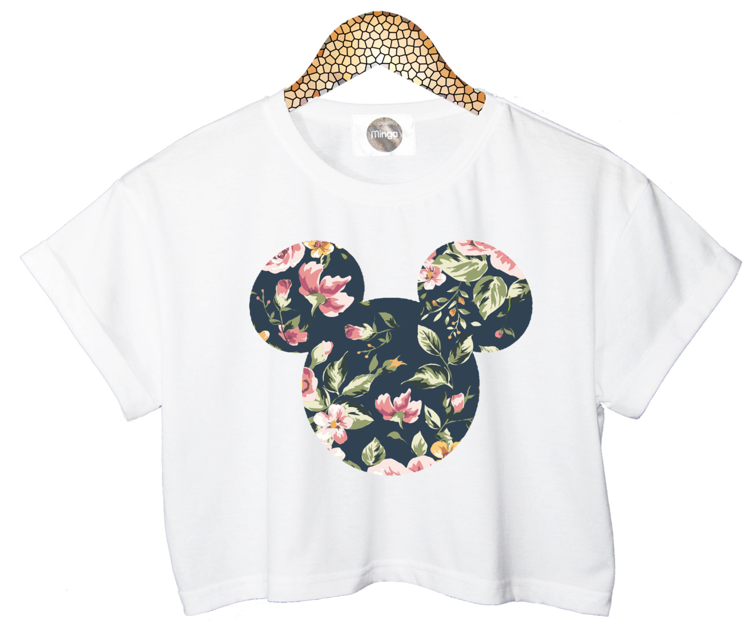Floral Mickey Crop Top Head Mouse Cropped Tshirt Womens