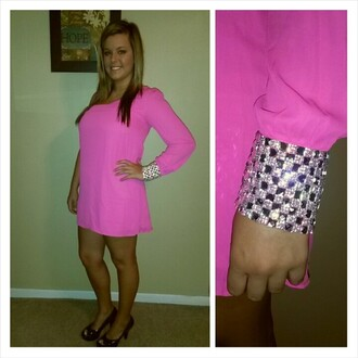 dress hot pink dress one shoulder dress studded dress single shoulder dress