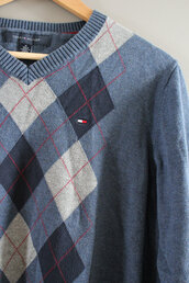 sweater,tommy hilfiger,90s tommy hilfiger,vintage tommy hilfiger,tommy hilfiger sweater,tommy hilfiger pullover,check pattern,cotton sweater