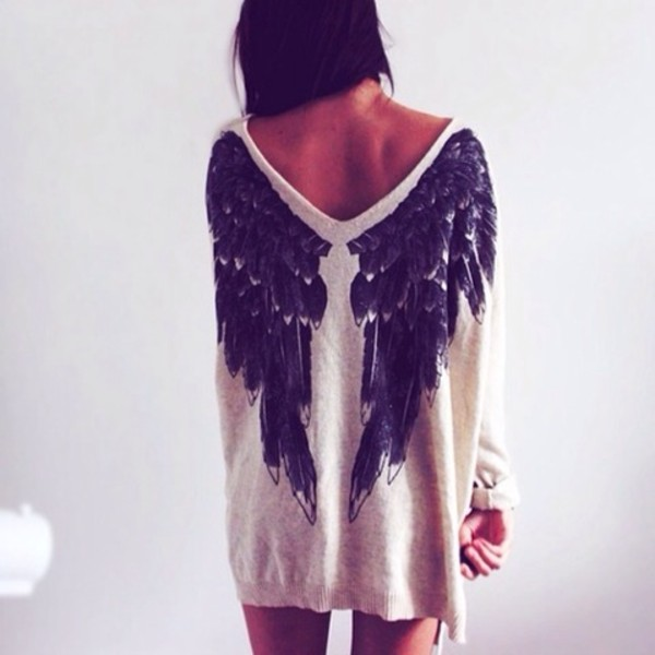 blouse t-shirt dress sweater angel wings shirt wings wow white angel black sweater nude dress oversized sweater creme beige pullover loveley cardigan white has wings on it angel wing sweater comfy knitted sweater earphones girly grunge big sweaters top jumper cute trendy sweater dress