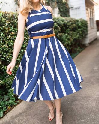 dress tumblr stripes striped dress midi dress belt halter neck halter dress sandals sandal heels high heel sandals nude sandals spring outfits spring dress