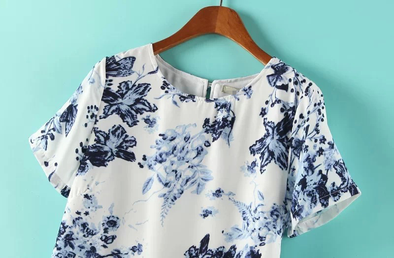 White Short Sleeve Blue Floral Slim Dress - Sheinside.com