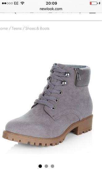 shoes boots grey fashion lace up