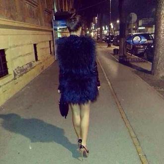 coat fur navy jacket blouse bonton beyonce bleu marine vintage cute dress